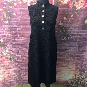 J. McLaughlin Black Velvet Flocked Mock Neck Dress
